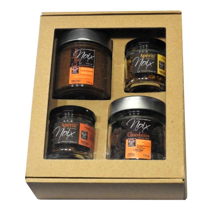 Coffret cadeau 4 pots de noix sucrées salées