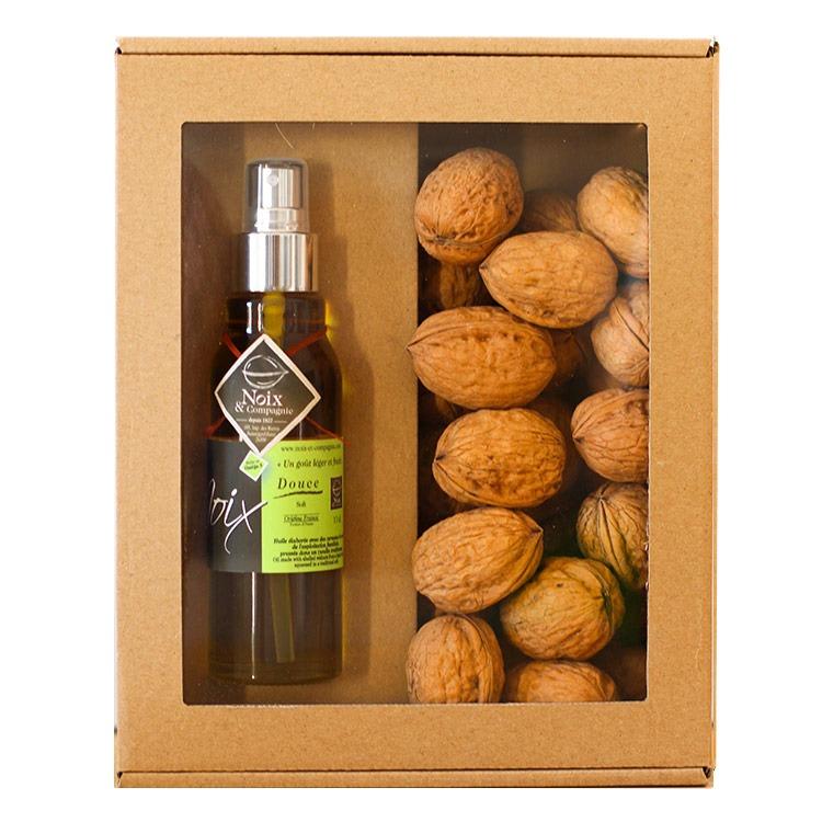 Coffret cadeau noix sèches et huile de noix