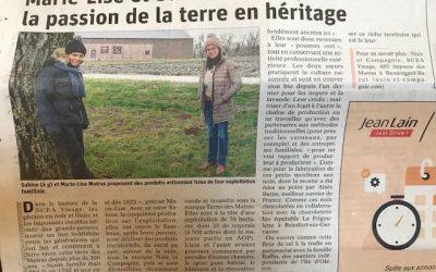Article de Presse : «La passion de la terre en héritage»